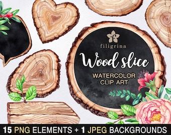 Rustic WATERCOLOR Clip Art. Wood slice tag, chalkboard banner, vintage flower, wedding card invitation. 15 elements, bonus! Read about usage