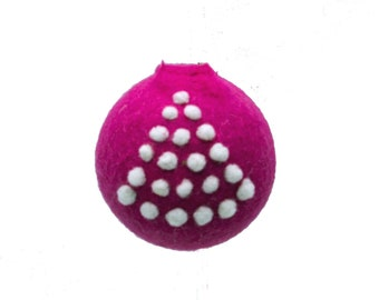 Needle Felted Ornament  Hot Pink Tree Decoration Free Shipping Christmas Bauble Wool Ornament