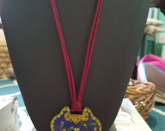 Gorgeous Rare Vintage Cobalt Blue, Brass Cloisonne pendant on maroon cord~ featuring floral motif with yellows, and greens~GREAT Find.