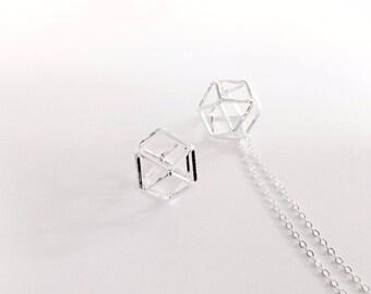 2 pendants hexagonals 14mm silver jewelry designs