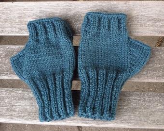 Teal Blue Texting Mittens, Wool Blend Knitted Fingerless Gloves, Handmade