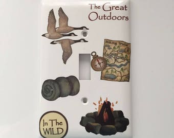 Camping the Great Outdoors Light Switch Cover, Boy's Room, Gift for a Boy, Bedroom, Geese, Hiking Trails Map, Campfire, Sleeping Bag