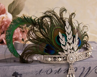 Retro 1920s Headpiece Wedding Bridal Headband Great Gatsby Art Deco Hair Style New Year Party Hair with Peacock Feathers