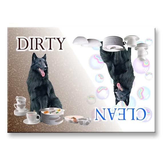 Belgian Sheepdog Clean Dirty Dishwasher Magnet Groenendael