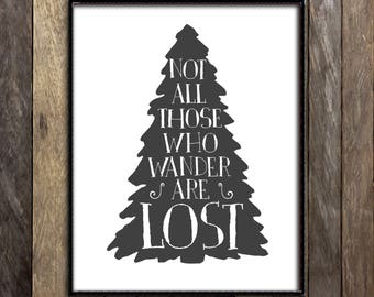 Not All Those Who Wander are Lost, JRR Tolkien Quote, Lord of the Rings Print, Wanderlust Art, Inspirational Wall Art, Typographic Art Print