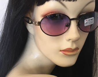 Vintage 90s sunglasses, oval, matte bronze frame , purple lens sunnies , free shipping!