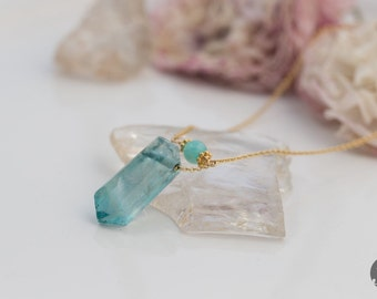 Light Blue/ Green Fluorite Necklace in Gold, Crystal Point Necklace, Gemstone Pendant, Flourite Pendant - for Her, byJTSjewelry