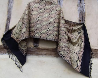 """Pale Gold and Copper on Black Embroidered Pashmina. 100%  pure soft wool shawl/stole. 80 x 28"""". 203 x 71 cm. Kashmir."""
