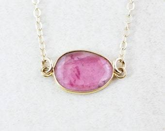 Rose Pink Tourmaline Necklace - Tourmaline Jewelry - 14K GF