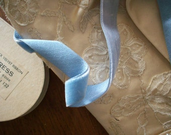 "1 yd. Vintage Silk Velvet Trim with Satin Back Bluet Yardage 1/2"" Wide original old store stock"