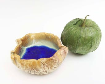 My Blue Lagoon Trinket Dish, Tiny Crinkly Bowl, Hobbitware Bowl, Wrinkled Pottery, Rustic. Primitive. Altar Bowl, Ring Dish