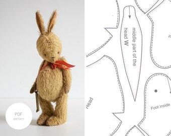PDF Sewing Pattern & Tutorial Mohair Rabbit 8 Inches Easter Bunny Stuffed Animal Pattern Plush Pattern Artist Teddy Bear Pattern For Women