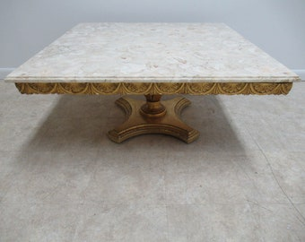 Vintage Custom Gold French Regency Marble Top Pedestal Base Coffee Table