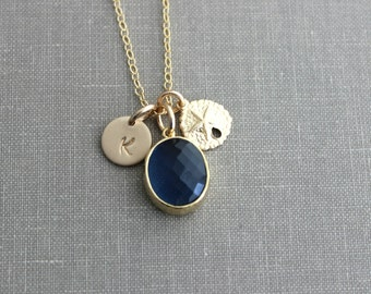 Gold Sand Dollar and Navy Blue Bezel Set Glass Briolette with Gold Filled Initial Necklace, Personalized, Montana Blue, Beach Jewelry