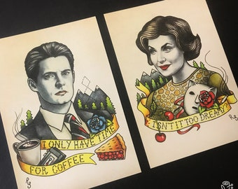 Twin Peaks Art Postcard Audrey Horne Dale Cooper. Oldschool Tattoo Flash Poster David Lynch