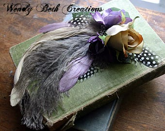 Lady Rose Hair Clip Fascinator - Steampunk, Wedding, Belly Dance, Ivory, Lavender, Fairy, Renaissance Festival, Cosplay, Pin Up, Feather