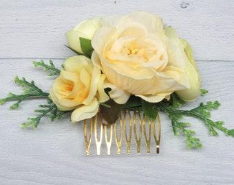 Comb Autumn wedding Gift for bridesmaid Comb for hair Gift for mom Floral hair comb Comb flower Bridal hair comb wedding Gold hair Comb baby