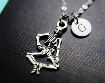 Halloween Decoration Skeleton Necklace Silver Skeleton Charm Necklace Personalized Necklace Monogram Custom