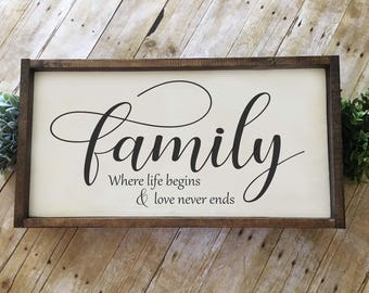 Family Where Life Begins & Love Never Ends   Hand-painted Wood Sign   Farmhouse Sign   Rustic Sign   Family Sign    24x12