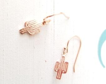 Cactus Earrings  Rose Gold Cactus simple earrings