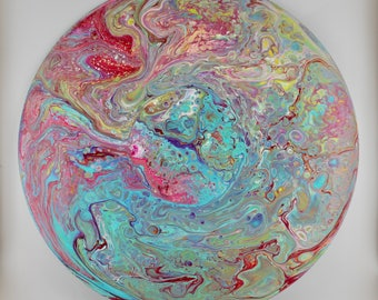 """Acrylic Pour Painting on Vinyl 12"""" Record, Vibrant Colors!"""