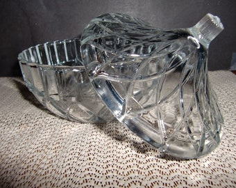 Vintage Clear Glass Candy Dish