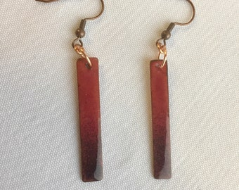 Kiln fired enamel on copper earrings in orchid and dark purple