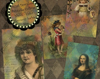 Digital Download Printable Journal Collage Sheet - 2.5 x 3.5 ATC size Backgrounds, Color Portraits