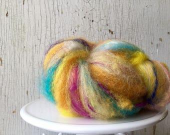 Art fiber batt, 1.3 ounce, yellow, magenta, turquoise, spinning, felting