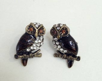 Woodland Owl Earrings vintage style Brass and Enamel