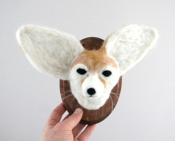 Wool Fennec Fox (Vulpes zerda) Wall Mount