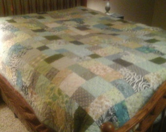 Queen size turquoise  blue gray quilt