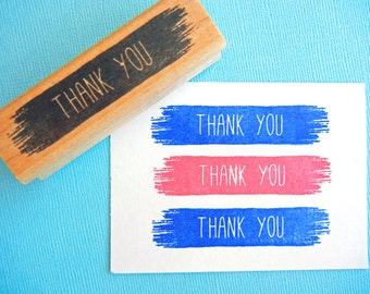 Thank You Rubber Stamp Paint Streak -Optional Customization - Handmade by BlossomStamps