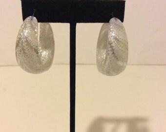 Chunky silver resin hoop earrings