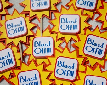 Blast off cupcake toppers Birthday Party Decoration