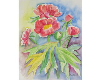 Flower Painting of Peonies, Limited Edition Print, Red Flowers, Gift Ideas, Digital Print, Wallart