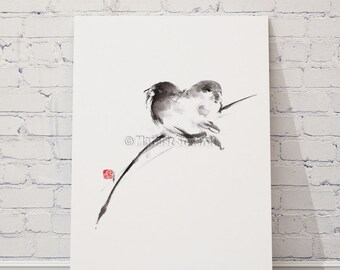 Bird Painting Watercolor Birds Print Zen Art Abstract Painting Home Decor