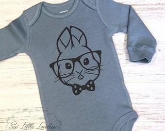 Baby Boy Bunny Onesie/Baby Hipster Bunny Onesie/Bunny Bodysuit