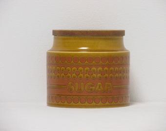 Retro 1980s Hornsea Saffron Small Sugar Storage Jar with Wooden Lid