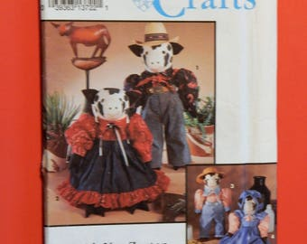"Vintage cow doll pattern Simplicity 8269 Uncut 19"" tall cow doll and clothing pattern designed by Faith Van Zanten"