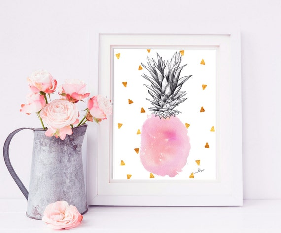 PINEAPPLE Illustrations Watercolor LIGHT PINK hues,ananas.Art Print aquarelle,abacaxi decoration Pineapple,home decor,fruits,cute posters