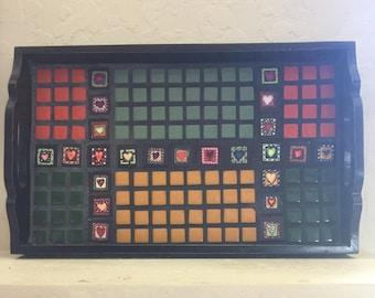 Mosaic Tray with Hearts