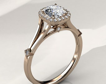 6mm Cushion Forever Brilliant Moissanite Halo Engagement Ring (available in white gold, rose gold, yellow gold and platinum)