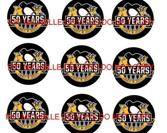 Instant Downloads || Pittsburgh Penguins || 2.5 x 2.5 inch circles