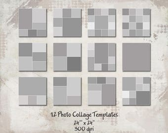 12 Square Storyboard Templates, Photo Collage Templates, Layered Digital Collage, PSD Photographer Templates, 24x24, Digital Scrapbooking