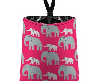 Car Trash Bag // Auto Trash Bag // Car Accessories // Car Litter Bag // Car Garbage Bag - Elephants (grey on hot pink) // Car Organizer