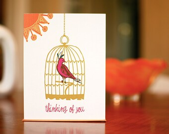 Magenta Caged Bird Thinking of You Card - 100% Recycled Paper
