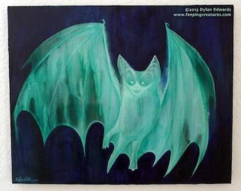 Glow-in-the-Dark Green Ghost Bat Painting - Vampire Bat - Feeping Creatures monster art