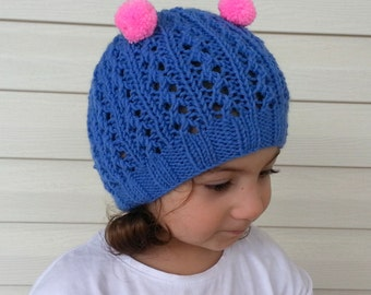 Knit Baby Hat in Blue and Pink-Christmas Baby Hat,Photo Prop - for Baby or Toddler- Pom Pom hat-Baby Girl or Boy Hat