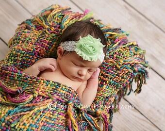 Mint baby headband, infant headband, baby headband, mint shabby flower with pearl on  elastic lace  headband